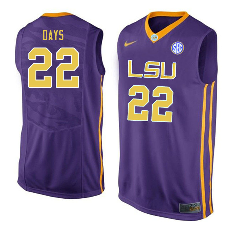 Men #22 Darius Days LSU Tigers College Basketball Jerseys Sale-Purple