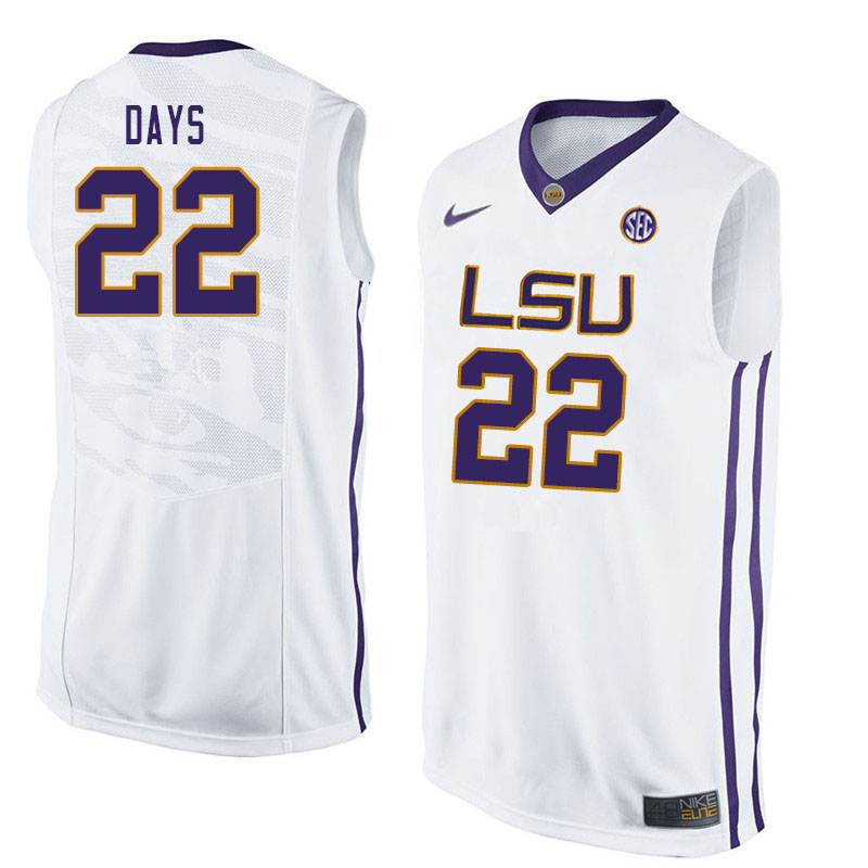 Men #22 Darius Days LSU Tigers College Basketball Jerseys Sale-White
