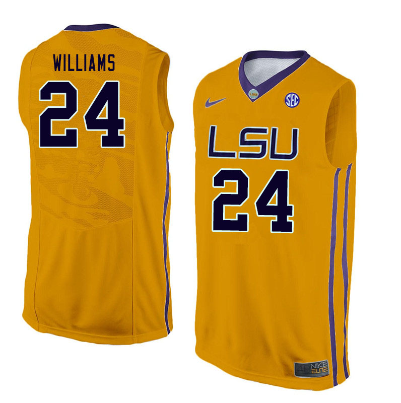 Men #24 Emmitt Williams LSU Tigers College Basketball Jerseys Sale-Gold