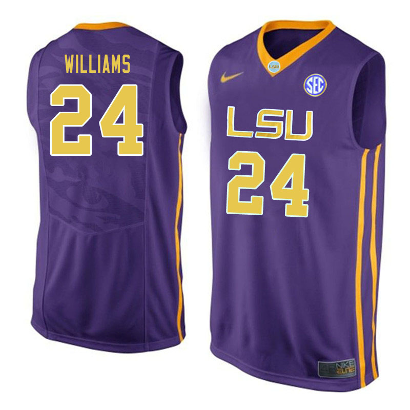 Men #24 Emmitt Williams LSU Tigers College Basketball Jerseys Sale-Purple
