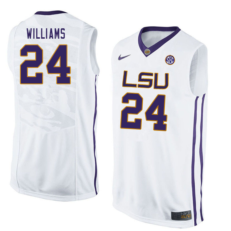Men #24 Emmitt Williams LSU Tigers College Basketball Jerseys Sale-White