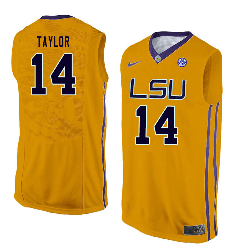 Men #14 Marlon Taylor LSU Tigers College Basketball Jerseys Sale-Gold