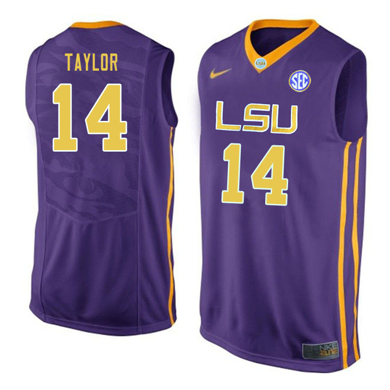 Men #14 Marlon Taylor LSU Tigers College Basketball Jerseys Sale-Purple