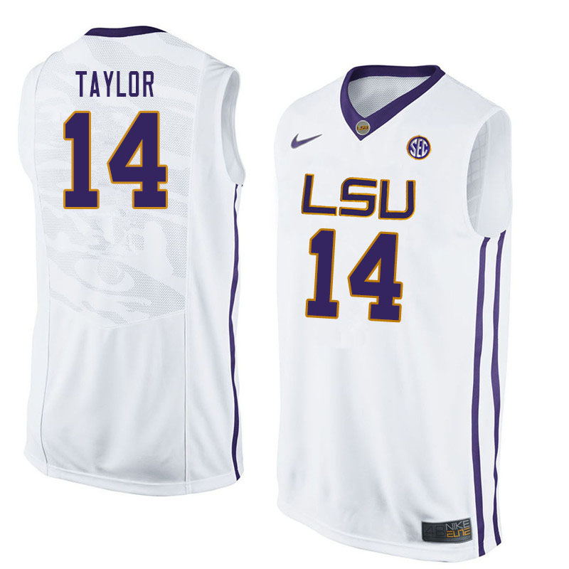Men #14 Marlon Taylor LSU Tigers College Basketball Jerseys Sale-White