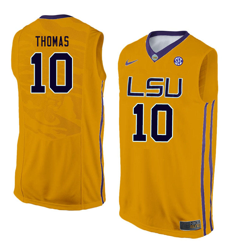 Men #10 Noah Thomas LSU Tigers College Basketball Jerseys Sale-Gold