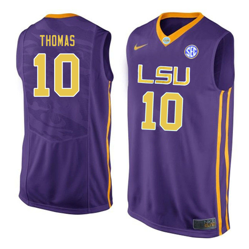 Men #10 Noah Thomas LSU Tigers College Basketball Jerseys Sale-Purple