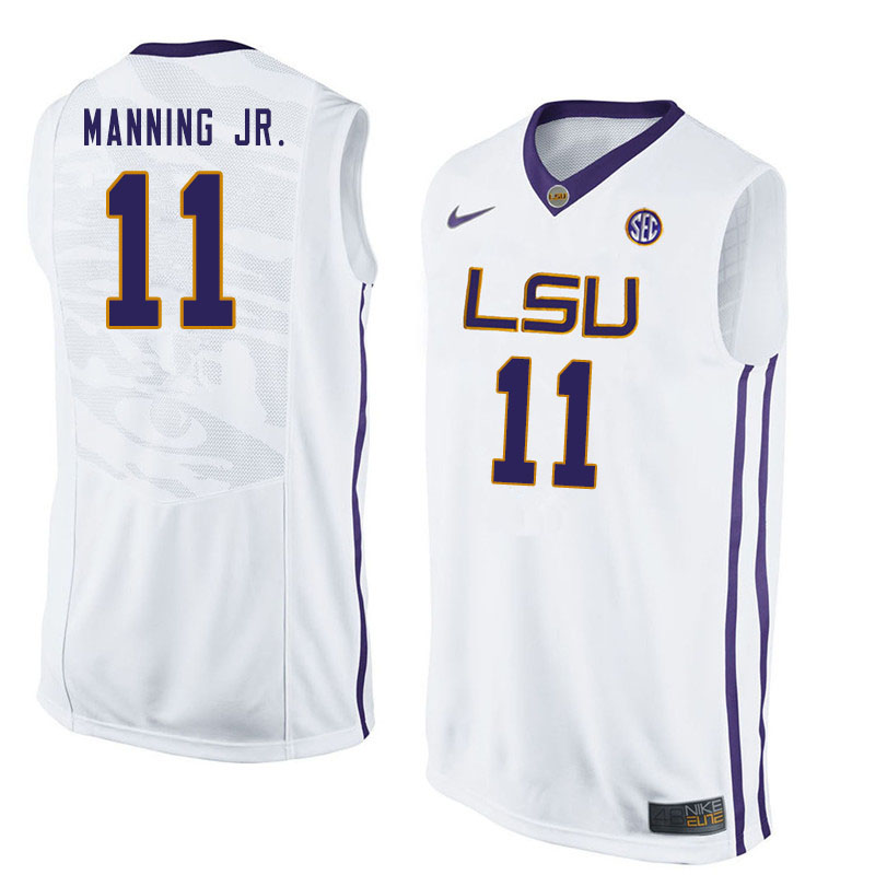 Men #11 Charles Manning Jr. LSU Tigers College Basketball Jersyes Sale-White