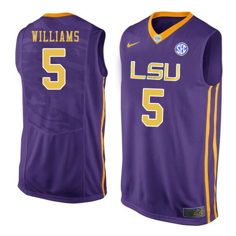 Men #5 Emmitt Williams LSU Tigers College Basketball Jersyes Sale-Purple