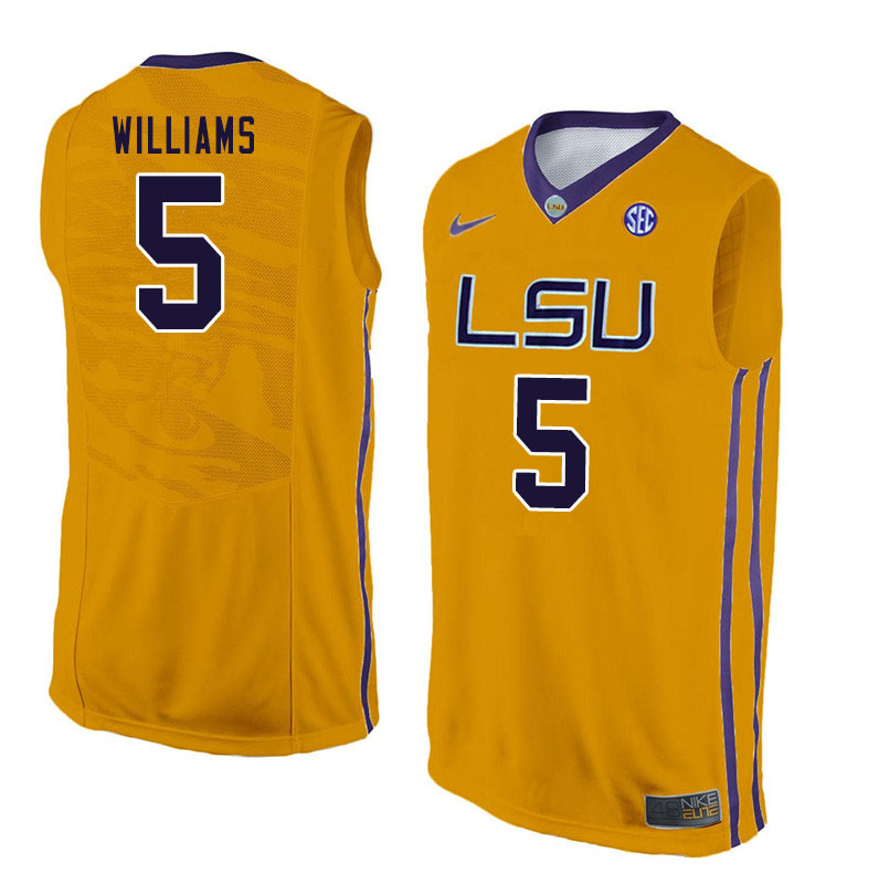 Men #5 Emmitt Williams LSU Tigers College Basketball Jersyes Sale-Yellow