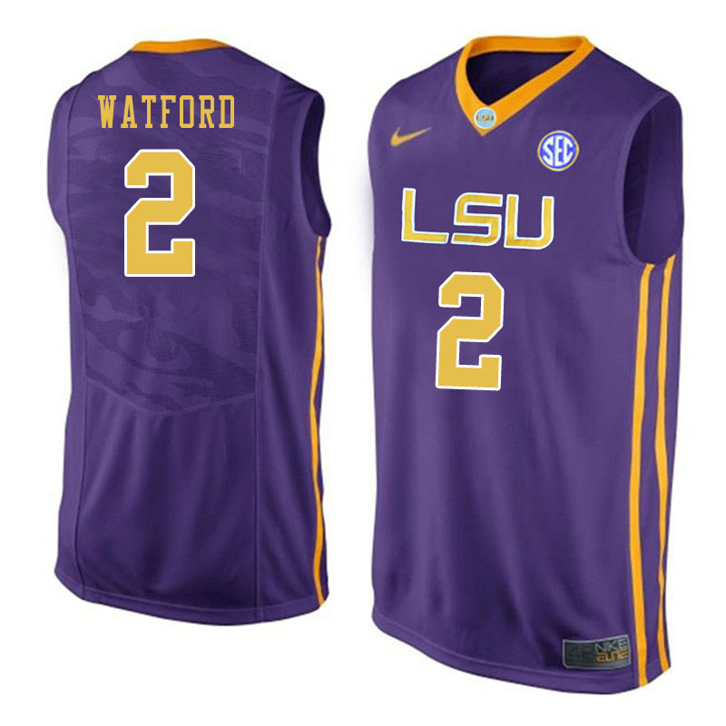 Men #2 Trendon Watford LSU Tigers College Basketball Jersyes Sale-Purple
