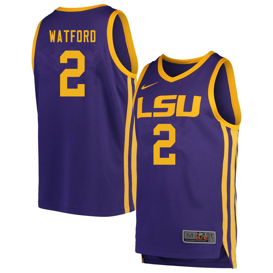Men #2 Trendon Watford LSU Tigers College Basketball Jersyes Sale-Retro