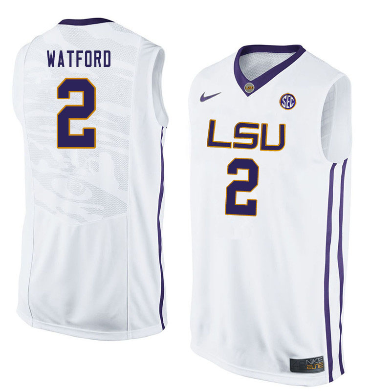 Men #2 Trendon Watford LSU Tigers College Basketball Jersyes Sale-White