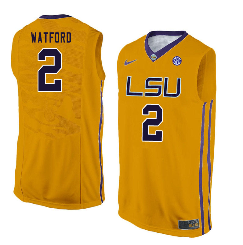 Men #2 Trendon Watford LSU Tigers College Basketball Jersyes Sale-Yellow