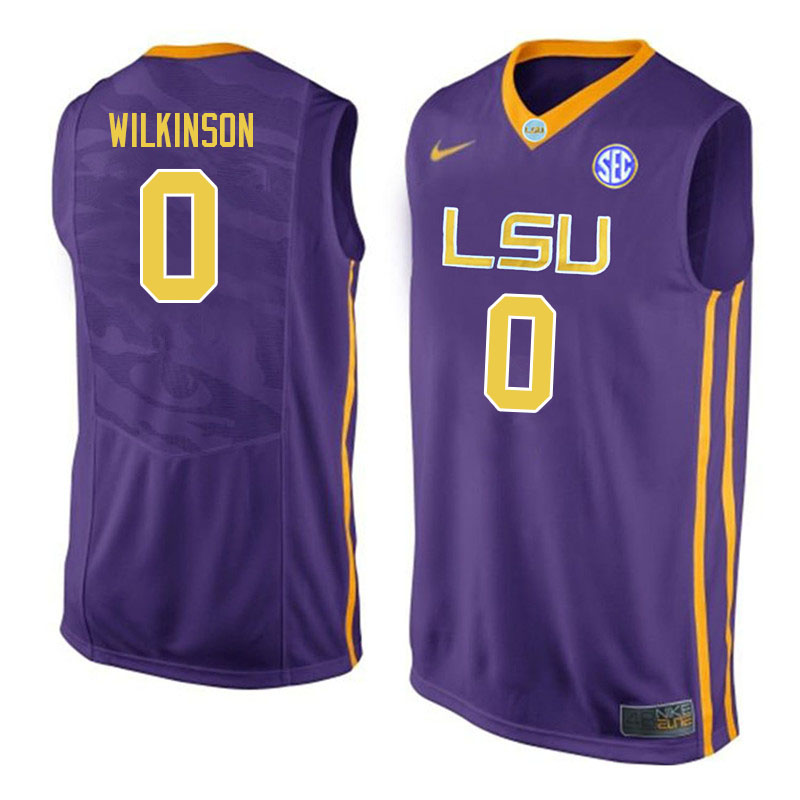 Men #0 Mwani Wilkinson LSU Tigers College Basketball Jerseys Sale-Purple
