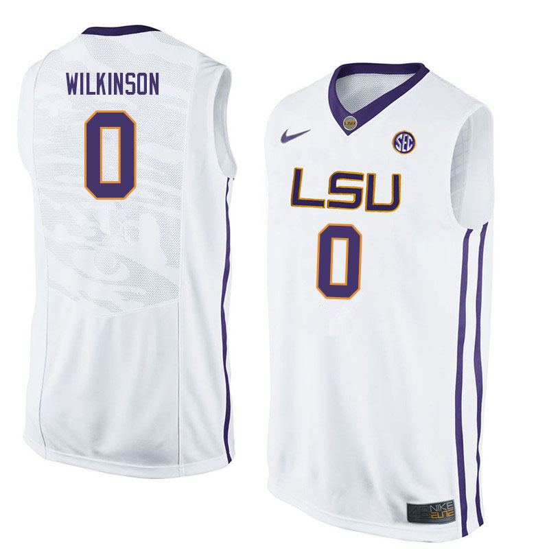 Men #0 Mwani Wilkinson LSU Tigers College Basketball Jerseys Sale-White