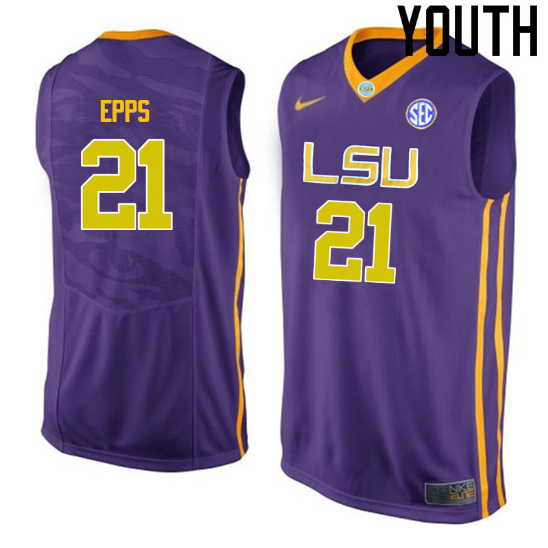 Youth LSU Tigers #21 Aaron Epps College Basketball Jerseys-Purple