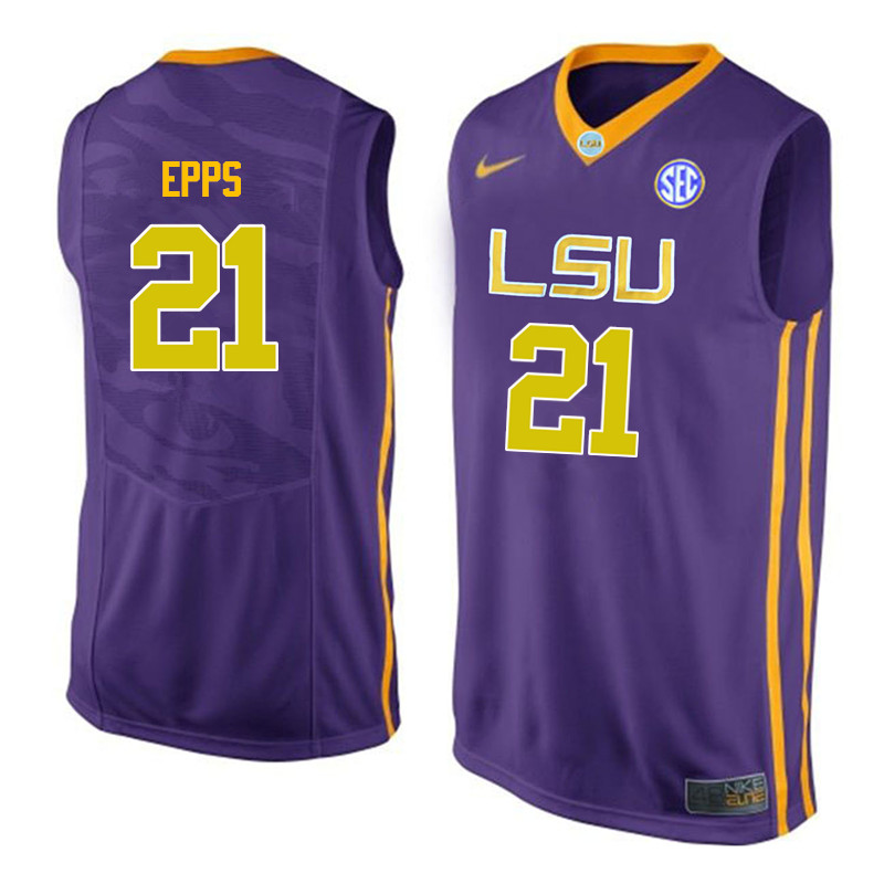 Men LSU Tigers #21 Aaron Epps College Basketball Jerseys-Purple