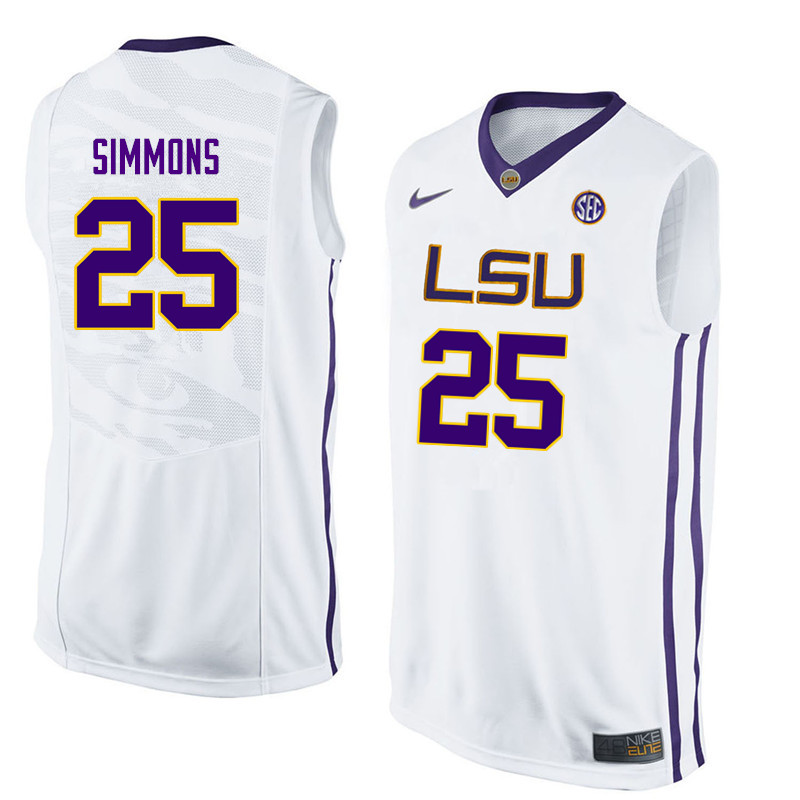 Men LSU Tigers #25 Ben Simmons College Basketball Jerseys-White