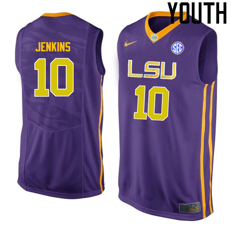 Youth LSU Tigers #10 Branden Jenkins College Basketball Jerseys-Purple