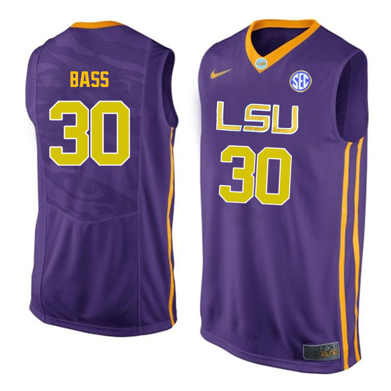 Men LSU Tigers #30 Brandon Bass College Basketball Jerseys-Purple