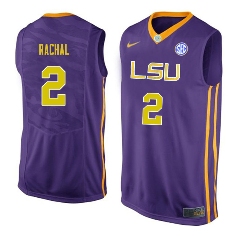 Men #2 Brandon Rachal LSU Tigers College Basketball Jerseys Sale-Purple