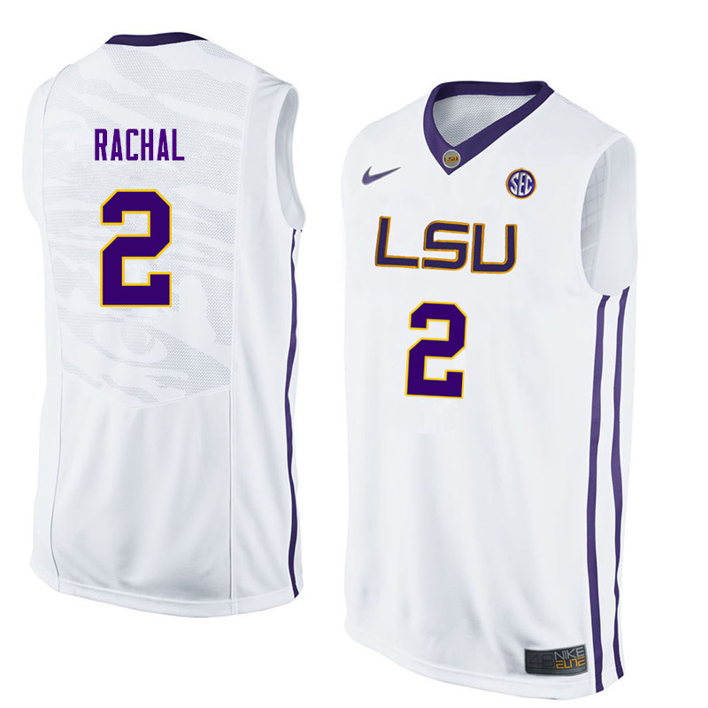 Men #2 Brandon Rachal LSU Tigers College Basketball Jerseys Sale-White
