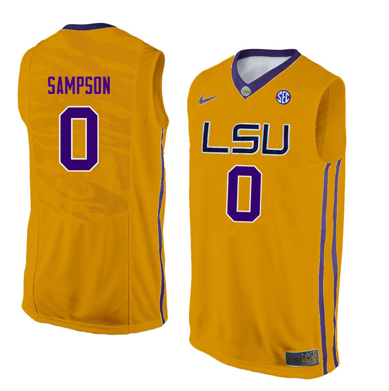 Men LSU Tigers #0 Brandon Sampson College Basketball Jerseys-Gold