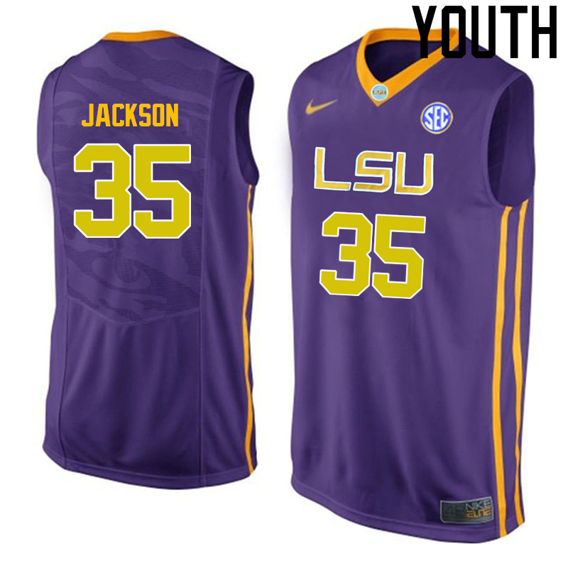 Youth LSU Tigers #35 Chris Jackson College Basketball Jerseys-Purple