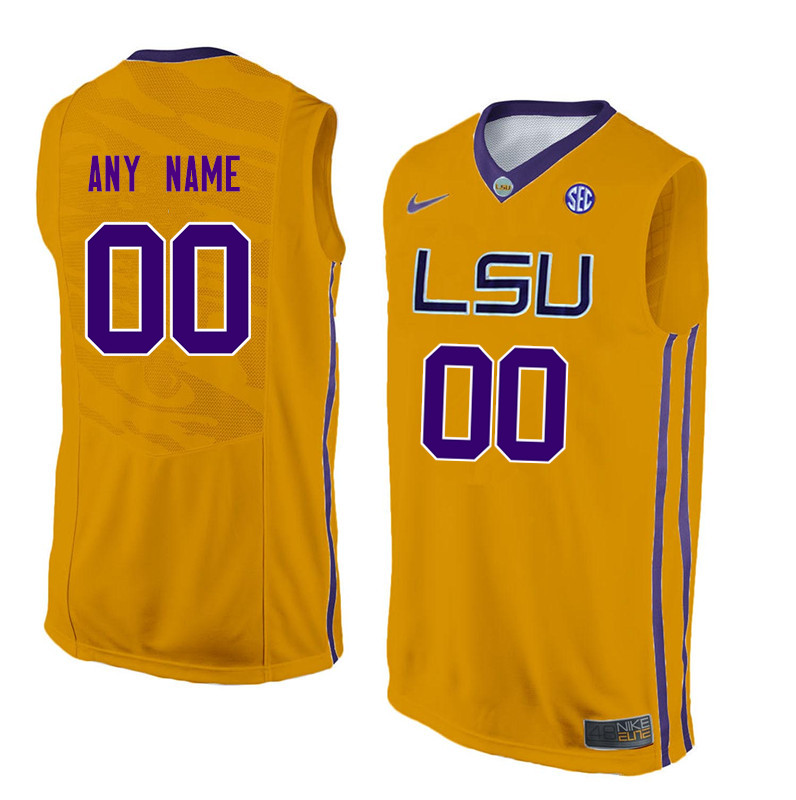 Customs LSU Tigers Men College Basketball Jerseys-Gold