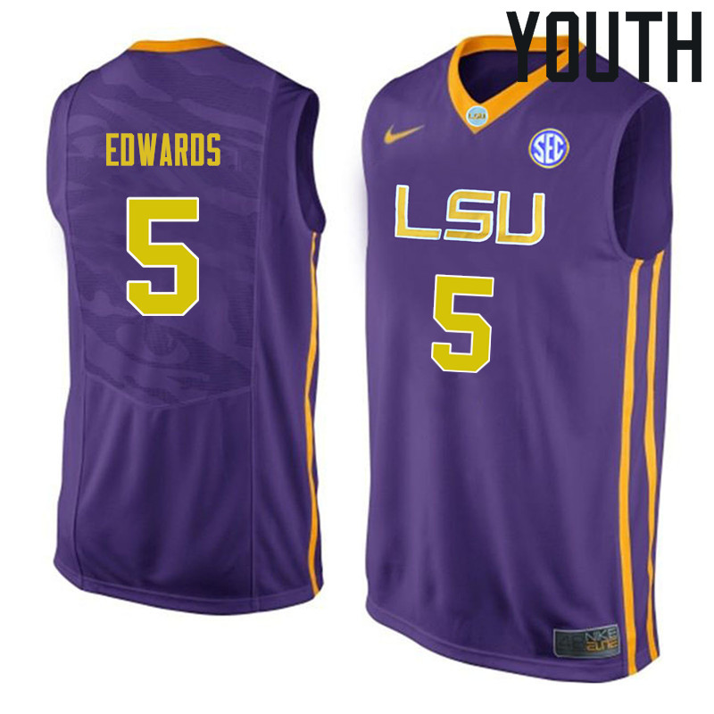 Youth #5 Daryl Edwards LSU Tigers College Basketball Jerseys Sale-Purple
