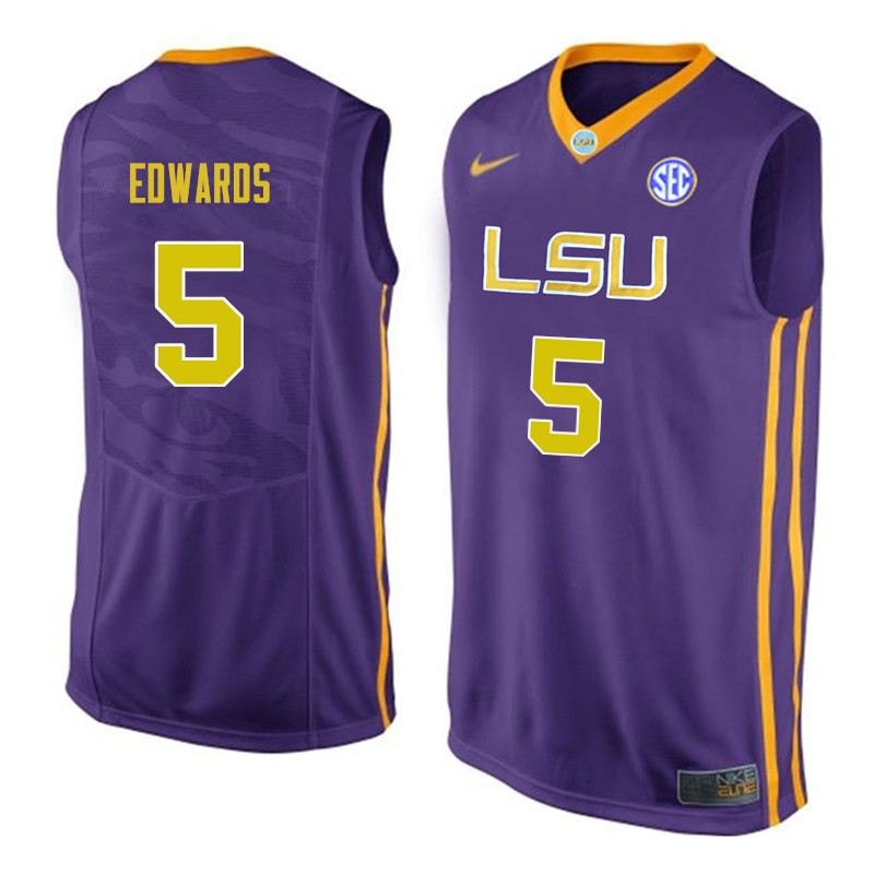 Men #5 Daryl Edwards LSU Tigers College Basketball Jerseys Sale-Purple