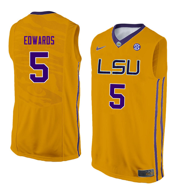 Men #5 Daryl Edwards LSU Tigers College Basketball Jerseys Sale-Yellow
