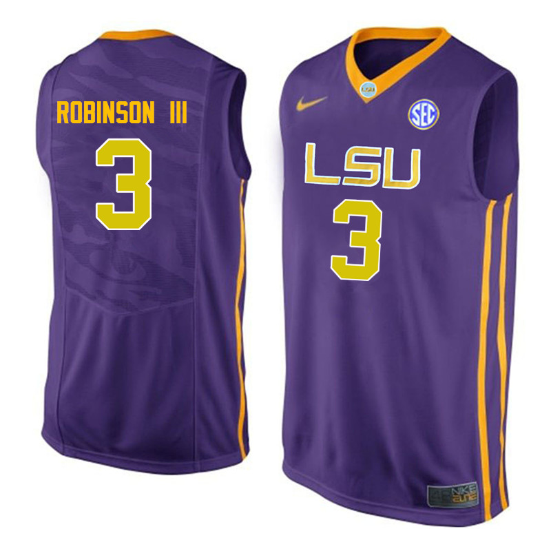 Men LSU Tigers #3 Elbert Robinson III College Basketball Jerseys-Purple