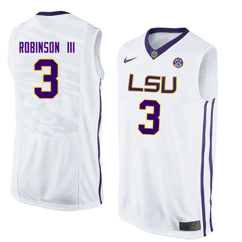 Men LSU Tigers #3 Elbert Robinson III College Basketball Jerseys-White