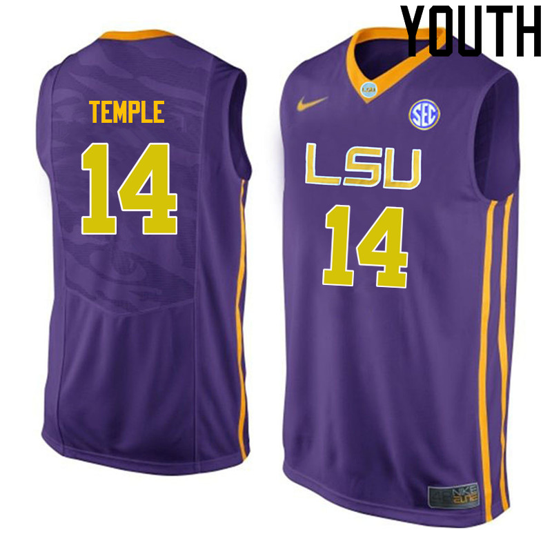 Youth LSU Tigers #14 Garrett Temple College Basketball Jerseys-Purple
