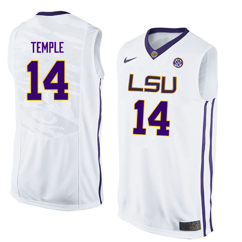 Men LSU Tigers #14 Garrett Temple College Basketball Jerseys-White