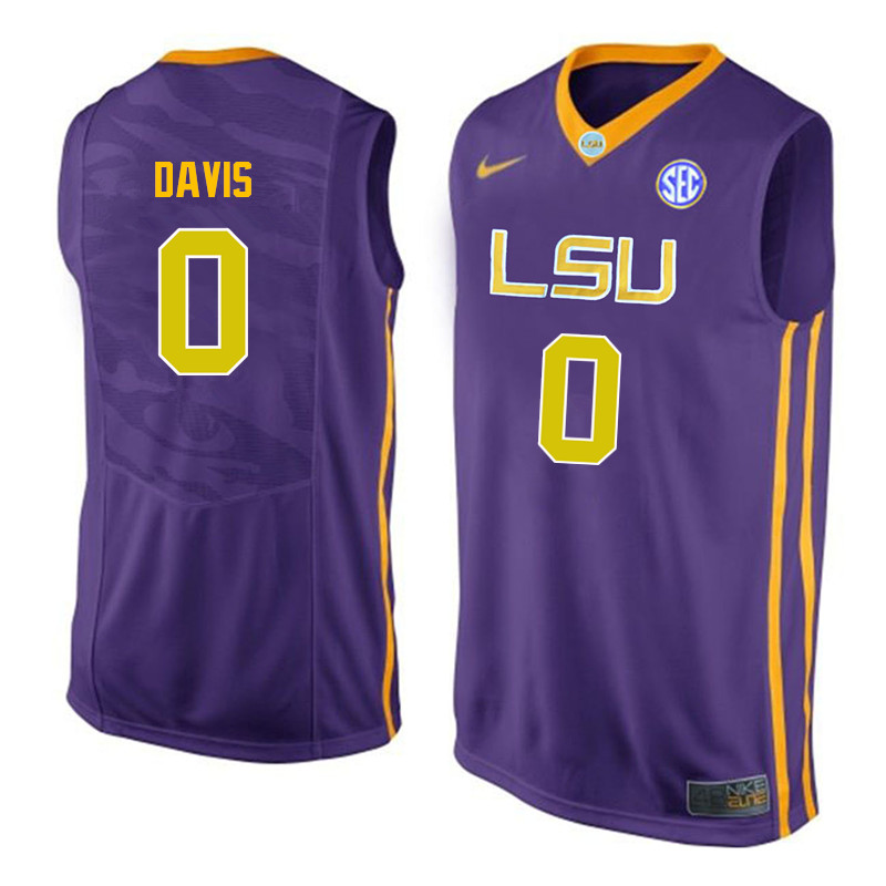 Men LSU Tigers #0 Glen Davis College Basketball Jerseys-Purple