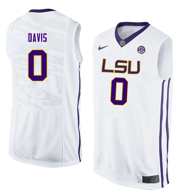 Men LSU Tigers #0 Glen Davis College Basketball Jerseys-White