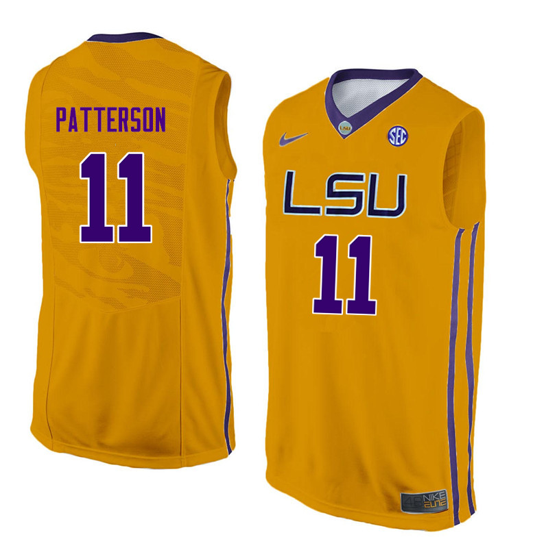 Men LSU Tigers #11 Jalyn Patterson College Basketball Jerseys-Gold