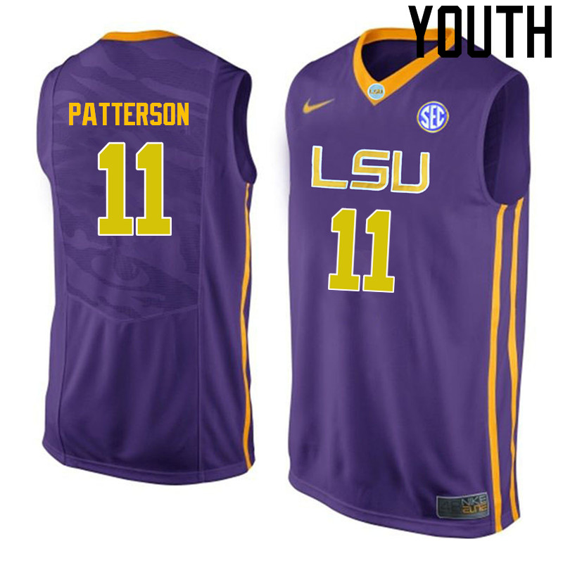 Youth LSU Tigers #11 Jalyn Patterson College Basketball Jerseys-Purple