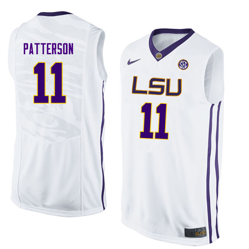 Men LSU Tigers #11 Jalyn Patterson College Basketball Jerseys-White