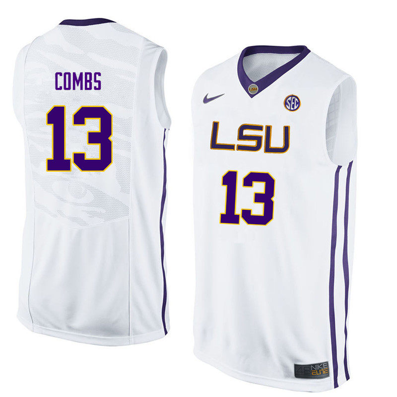 Men #13 Jeremy Combs LSU Tigers College Basketball Jerseys Sale-White