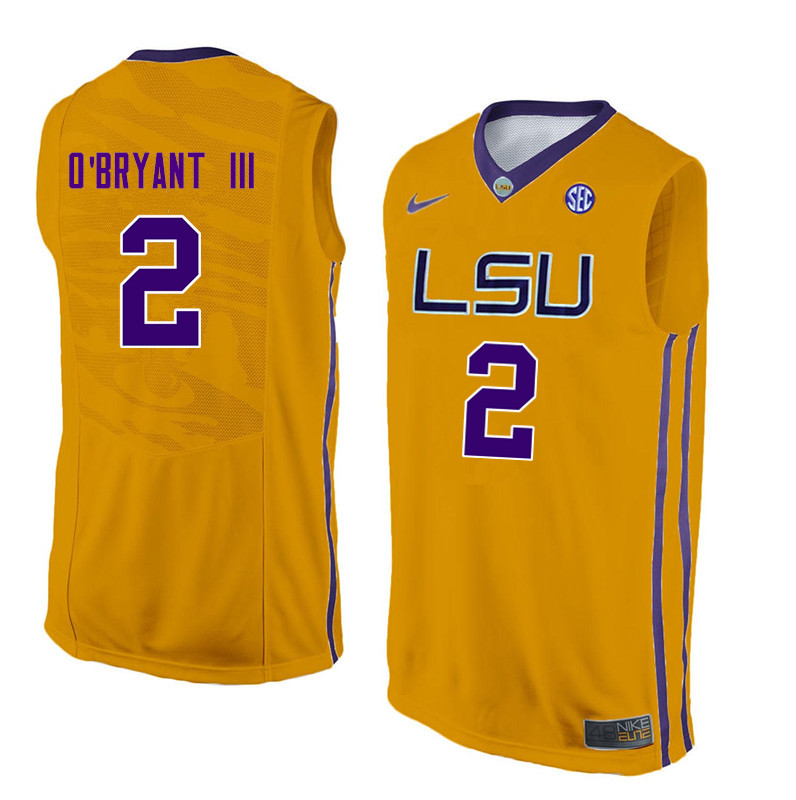 Men LSU Tigers #2 Johnny OBryant III College Basketball Jerseys-Gold