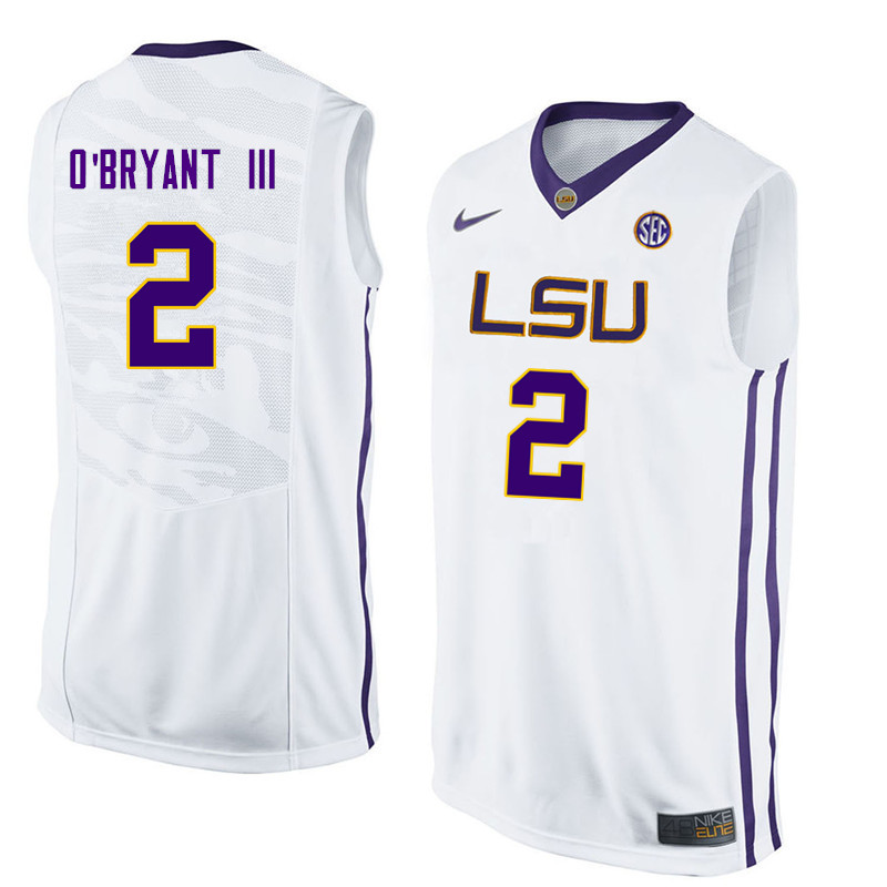 Men LSU Tigers #2 Johnny OBryant III College Basketball Jerseys-White