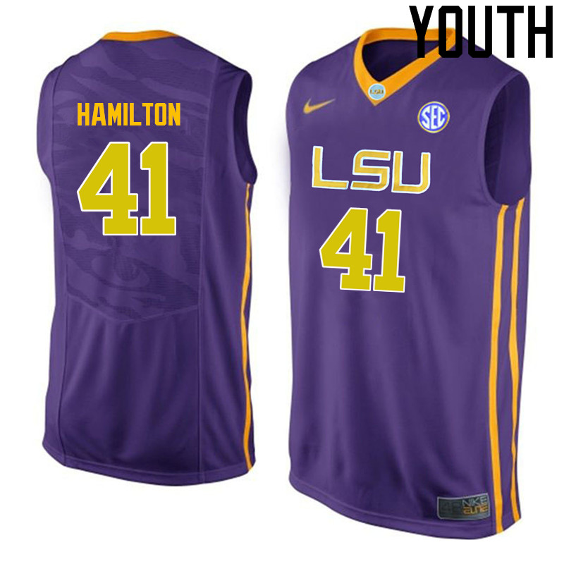 Youth LSU Tigers #41 Justin Hamilton College Basketball Jerseys-Purple