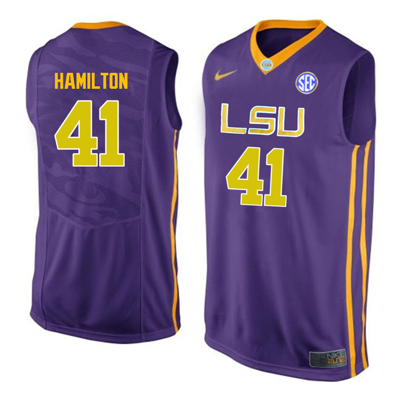 Men LSU Tigers #41 Justin Hamilton College Basketball Jerseys-Purple
