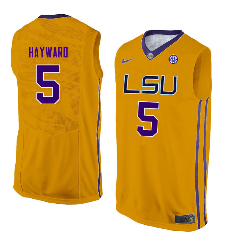Men LSU Tigers #5 Kieran Hayward College Basketball Jerseys-Gold