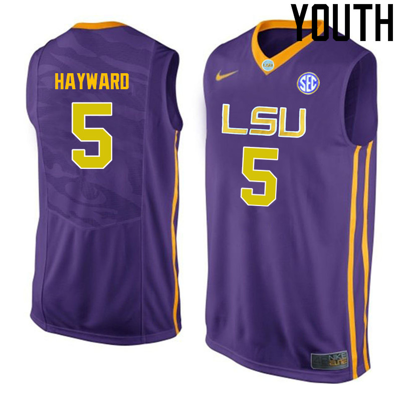 Youth LSU Tigers #5 Kieran Hayward College Basketball Jerseys-Purple