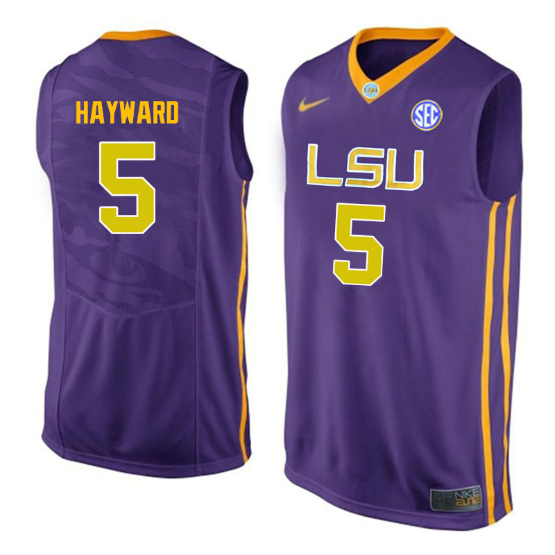 Men LSU Tigers #5 Kieran Hayward College Basketball Jerseys-Purple