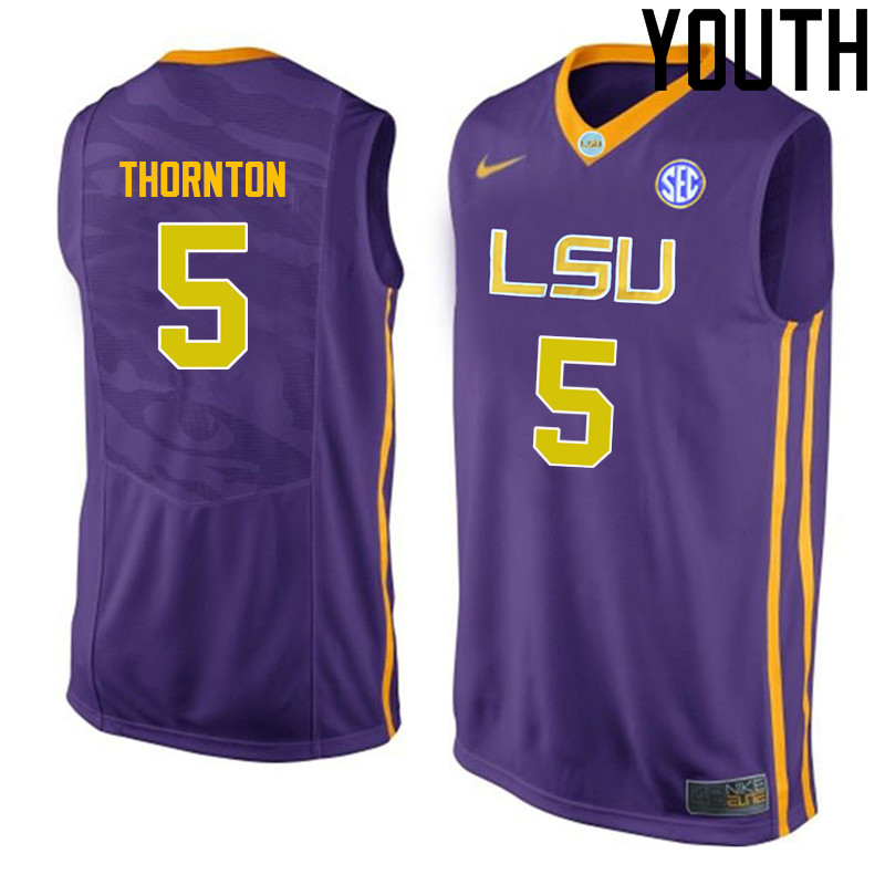 Youth LSU Tigers #5 Marcus Thornton College Basketball Jerseys-Purple